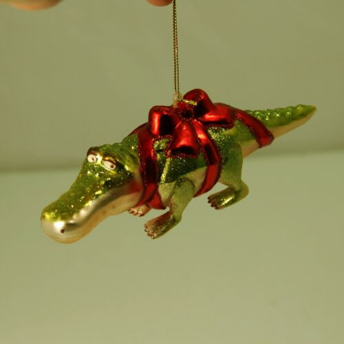 Alligator w/ Red Bow Glass Ornament by Bronner