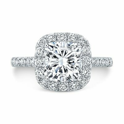 Natural 2.00 TCW Cushion Halo U-Pave Set Diamond Engagement Ring - GIA Certified 2