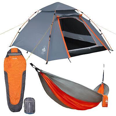 Camping Set mit 3 Personen Zelt, Mumien - Schlafsack & Hängematte 280x140 cm