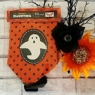 Ghostly Halloween BOO GARLAND Happy Haunting 4FT Ghosts Pom Poms Orange Black