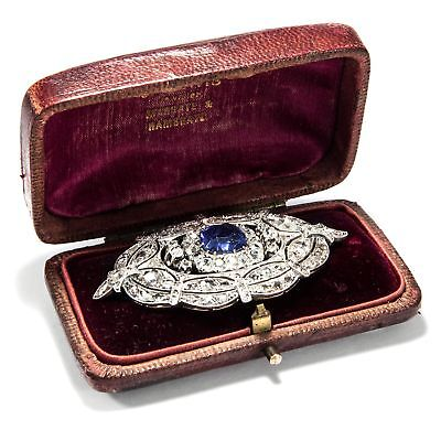 Um 1890: große Brosche mit 4,50 ct Ceylon Saphir & 5,99 ct Diamanten Gold Saphir