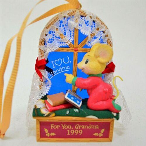 Vintage Lustre Frame I Love Grandma Christmas Ornament Mouse Fabric 1999 No Box