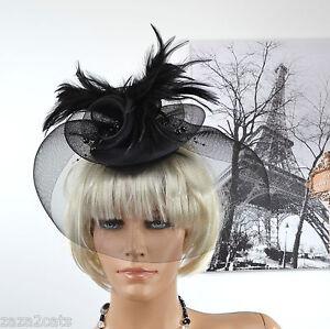 chapeau bibi voilette femme ceremonie mariage noir plume. Black Bedroom Furniture Sets. Home Design Ideas