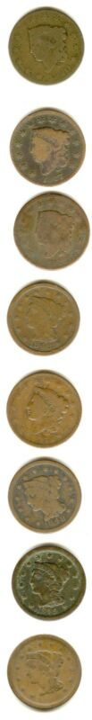 8 LARGE CENTS 1820 1826 18271837 1848 (2) 1849 1852 G-VF  *** ALL NICE COINS***