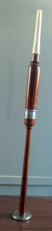 Mid Eastern Persian Reeded Wood Flute Metal Accents 7 Holes