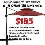 NEW 11-ft Octagonal Offset Umbrella, Marine Red on ribs UV-protected polyester fabric