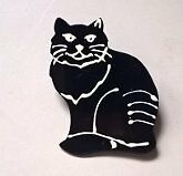 Solid Brass Black Cat Pin