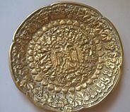 Rare Antique Brass Double Headed Eagle Plate
