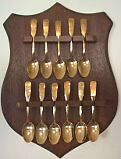 Canadian Collectible Spoon set with Wooden Wall Display Rack