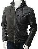 Leather jacket with detachable hood 36/38 brand new