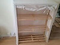 Cream canvas covered shelving unit- 5 shelves- storage of clothes, shoes, presents-Bargain-£28