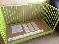 Green IKEA Crib/Toddler Bed with Extras!