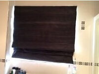 Black fabric roman blinds 120cm W 110cm H. Fittings and tie back hook. £10. B15 or B7