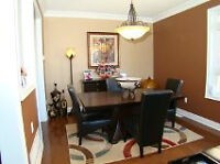 Acacia Wood Table & 4 Leather Chairs