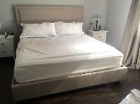KING SIZE GREY UPHOLSTERED BED