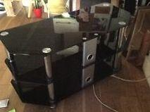 Smoke tempered glass TV stand