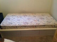 White single Captian's bed with or without mattress