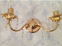 2 light brass wall bracket light with crystal droplets (set of three) £10 each. B15 or B7
