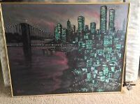oil painting twin towers