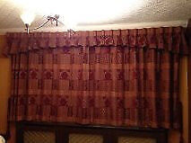 "Red patterned curtains with lining. High quality. Tie backs and pelmet. 56"" D 100"" W. £100 B15 or B7"