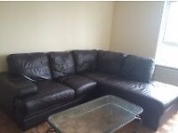 Corner Leather Suite choclate brown BARGAIN