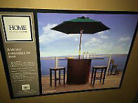 Wood Patio Bar set with Market Umberella Brand New