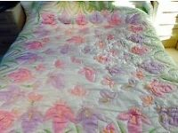 Lluxury hand painted King sized quilted silk bed throw. brand new.