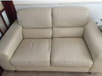 2 SEATER CREAM LEATHER SOFA ***GOOD CONDITION*** £70 ono
