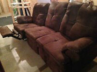 suede double reclining couch