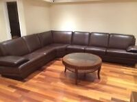 4PC BROWN LEATHER SECTIONAL SOFA