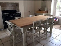 Farmhouse Table and 6 Pew Chairs