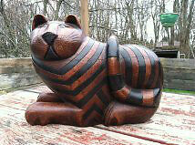 Vintage Large Wood Carved Cat Statue with Hidden Compartment