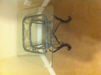 glass top side table with wrought iron stand