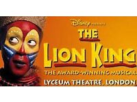 X2 tickets for the lion king musical Lyceum theatre London for this Saturday night 24th March 7:30pm