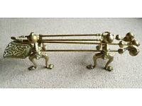 Vintage Ball & Claw Dogs Brass Fireplace Fireside Companion Set