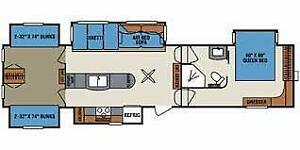 Fifth Wheel, 39 pieds, 5 extensions, 4 bunk bed