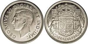 Canada 50 cent silver coins King George pre 1952