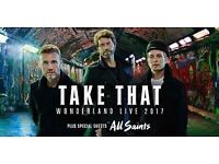 Take That Wonderland 2017 tour O2 arena. Pair great, top price, front block 101 seated tickets.