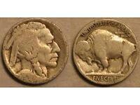 American 5 cents buffalo coin.