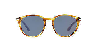 New Persol PO3152S 9043/56 Striped Brown Yellow Sunglasses Blue Lens 52mm (Persol Yellow Sunglasses)