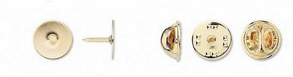 15 GOLD Plated TIE TACKS Tacs + Clutch ~Lapel  Scatter Pin Base Finding 12mm pad