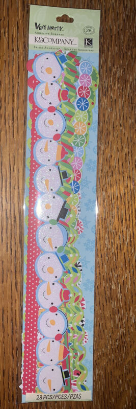 K&COMPANY VERY MERRY ICON CHRISTMAS ADHESIVE BORDER Snowman Snow Flake Scrapbook