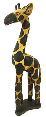 Vintage Hand Carved GIRAFFE Statue Made in INDONESIA Large 16''