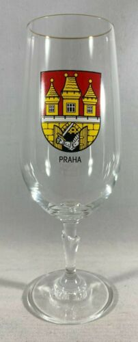"Praha Prague Czech Republic Coat Of Arms Vintage Stemmed Glass 7-1/2"""