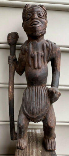 Vtg African Carved Wood Tribal Warrior Bearded Standing Man W/ Staff Cane Stick