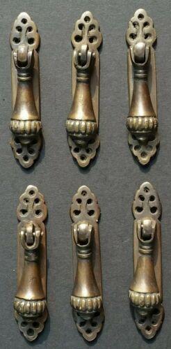 6 antique style vertical brass ornate pendant drop pull handles 278 H6