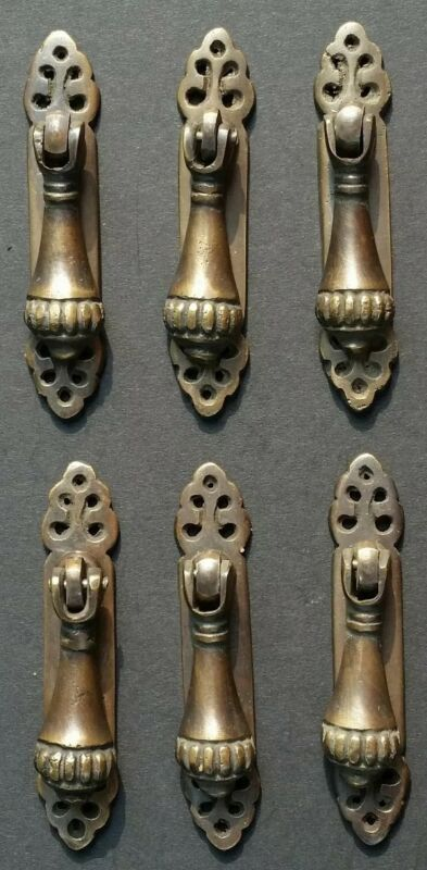 "6 antique style vertical brass ornate pendant drop pull handles 2-7/8"" #H6"