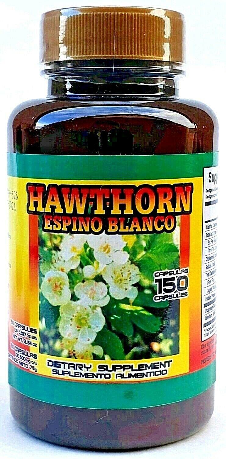 (3 Packs) ESPINO BLANCO HAWTHORN 450 CAPSULES 500MG EACH HEART PLANT Exp 06/2021 7