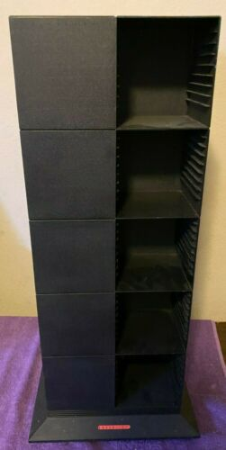 VINTAGE RED LETTER BLACK LASERLINE 200 CD CAROUSEL STORAGE TOWER HOLDS 200 CDS