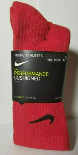 New NIKE Boys Youth 3-Pk Performance Cushioned Crew Socks Size 3Y-5Y SX6959-904